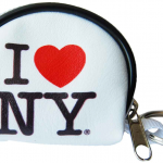 I Love NY White Dome Coin Purse with Key Chain
