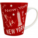 NY Scattered Icons Red Java Mug with White on Handle/ Inside