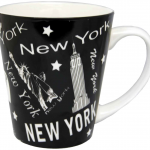 NY Scattered Icons Black Java Mug with White on Handle/ Inside
