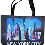 NYC Black/ Color Photo Letters Tote Bag with Zipper