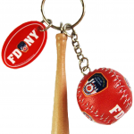 FDNY Red Baseball 3D Key Ring with Bat & Tag