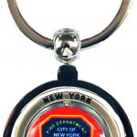 FDNY Red Shield Double Spinner Key Ring