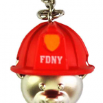 FDNY Silver Bear Key Ring in Helmet/ Logo