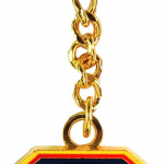 FDNY Red Shield Gold Plated Key Ring