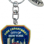 FDNY Red Shield Magic Glitter Key Ring with Tag