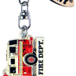 FDNY Fire Truck Magic Glitter Key Ring with Tag