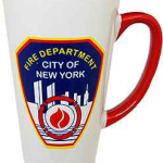 FDNY White/ Red Handle Java Mug