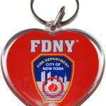 FDNY Red Lucite Heart Shape Logo/ Shield Key Ring