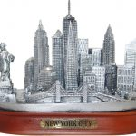 NY City Skyline Pewter Model – Oval