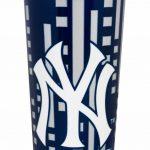 NY Yankees Geometric Navy Design Travel Mug