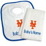 NY Mets Personalized Bib and Burp Cloth Gift Set