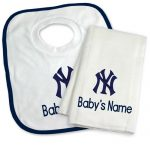 NY Yankees Personalized Bib and Burp Cloth Gift Set