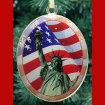 Statue of Liberty American Flag Double Sided Ornament