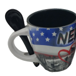 NYC Stars and Stripes 6 oz. Mug with Spoon- Black