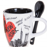 Scattered Landmarks NYC Mug with Spoon- Black