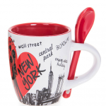 Scattered Landmarks NYC 6 oz. Mug with Spoon- Red