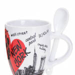Scattered Landmarks NYC 6 oz. Mug with Spoon- White