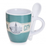 New York Polka Dotted 6 oz. Mug- Green Base