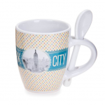 New York Polka Dotted 6 oz. Mug- Yellow Base