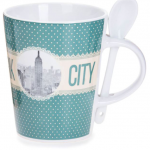 New York Polka Dotted 13 oz. Mug- Green Base