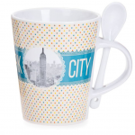 New York Polka Dotted 13 oz. Mug- Yellow Base