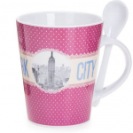 New York Polka Dotted 13 oz. Mug- Pink Base