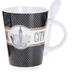New York Polka Dotted 13 oz. Mug- Black Base