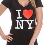 I Love NY Ladies V-Neck T-Shirt – Black
