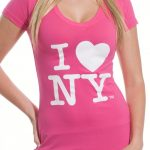 I Love NY Ladies V-Neck T-Shirt – Pink