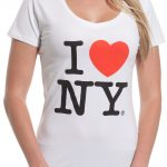 I Love NY Ladies V-Neck T-Shirt – White