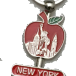 New York Red Apple & Buildings Spinner Key Chain