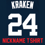 Kraken Ladies T-Shirt – Navy Gary Sanchez Yankees Womans Nickname T-Shirt