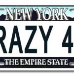 Crazy 4 U NY License Plate