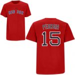 Dustin Pedroia T-Shirt – Red Boston Red Sox Adult T-Shirt
