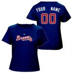 Atlanta Braves Personalized Ladies Navy T-Shirt