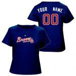 Atlanta Braves Personalized Ladies Navy T-Shirt