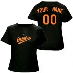 Baltimore Orioles Personalized Ladies Black T-Shirt