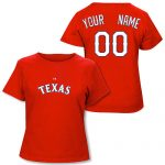 Texas Rangers Personalized Ladies Red T-Shirt