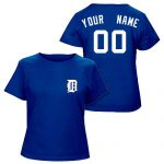 Detroit Tigers Personalized Ladies Navy T-Shirt