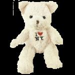 I Love NY Cream Medium Sized Hairy Plush Teddy Bear
