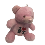 I Love NY Pink Plush Teddy Bear Key Chain