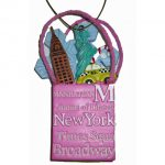 NYC Icons Shopping Bag Ornament – Pink