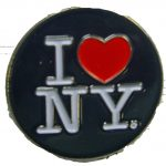 I Love NY Black Circle Pin