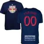 NY Red Bulls Personalized Navy Adult T-Shirt – Red Lettering