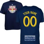 NY Red Bulls Personalized Navy Adult T-Shirt – Yellow Lettering