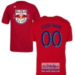 NY Red Bulls Personalized Red Adult T-Shirt – Navy Lettering