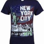 NYC Distressed Liberty Skyline Navy Adult T-Shirt