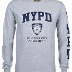 NYPD Full Chest and Sleeve Long Sleeve T-Shirt – Grey