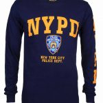 NYPD Full Chest and Sleeve Long Sleeve T-Shirt – Navy