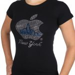 NYC Apple with Blue Skyline Rhinestone Cap Tee – Black